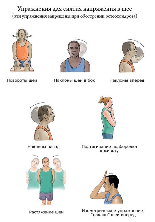 упражнения для снятия напряжения в шеи